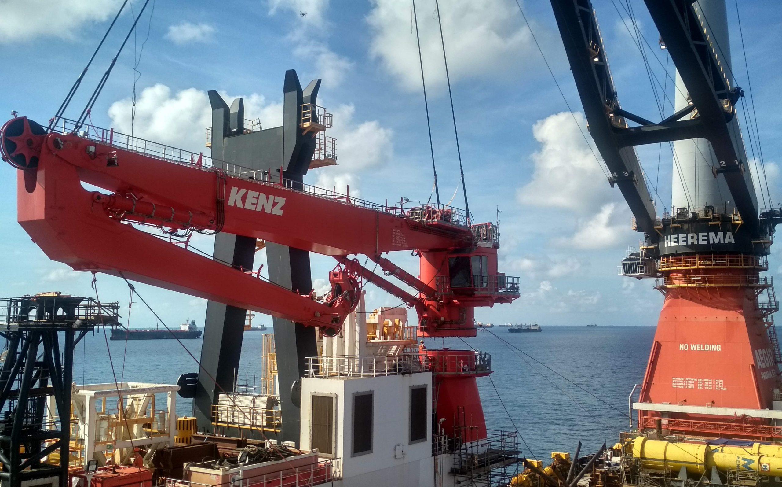 Knuckle boom crane installation o/b Heerema's Aegir